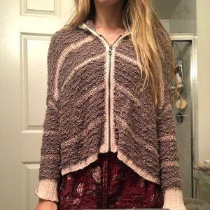 Free People Hooded Zip-up Sweater/Cardigan